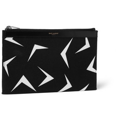 Saint Laurent Boomerang-Print Canvas Pouch