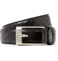 Saint Laurent 2.5cm Black Python-Effect Leather Belt