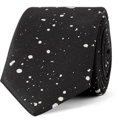 Saint Laurent Splatter-Print Silk-Twill Tie