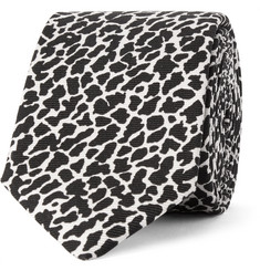 Saint Laurent Animal-Print Silk-Twill Tie