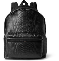 Saint Laurent Snake-Effect Leather Backpack