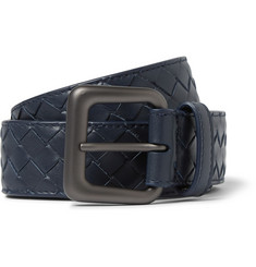 Bottega Veneta 3cm Navy Intrecciato Leather Belt