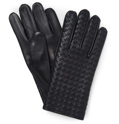Bottega Veneta Cashmere-Lined Intrecciato Leather Gloves