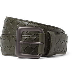 Bottega Veneta 3cm Dark Green Intrecciato Leather Belt