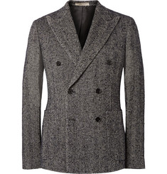 Bottega Veneta Midnight-Blue Herringbone Linen-Blend Double-Breasted Blazer
