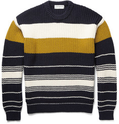 Tomorrowland Chunky-Knit Striped Wool Sweater