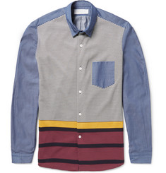Tomorrowland Tricot-Panelled Cotton-Chambray Shirt