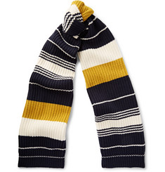 Tomorrowland Chunky-Knit Striped Wool Scarf