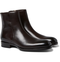 Tom Ford Burnished-Leather Chelsea Boots