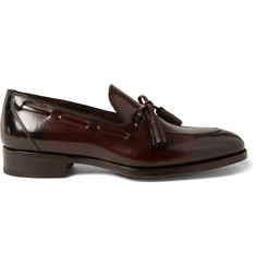 Tom Ford Tasselled Burnished-Leather Loafers