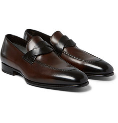 Tom Ford Burnished-Leather Penny Loafers