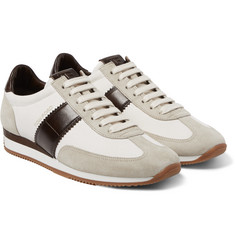 Tom Ford Leather and Suede-Panelled Canvas Sneakers