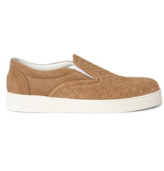 Bottega Veneta Intrecciato Suede Slip-On Sneakers