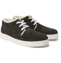 Bottega Veneta Intrecciato Shearling-Lined Suede Mid-Top Sneakers