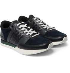 Bottega Veneta - Intrecciato Leather and Suede Sneakers