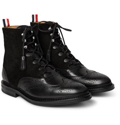 Thom Browne Wingtip Suede and Leather Ghillie Brogue Boots