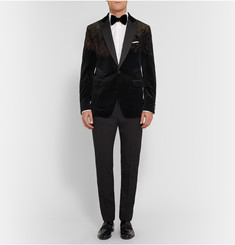Etro Black Slim-Fit Hand-Painted Silk-Blend Velvet Tuxedo Jacket