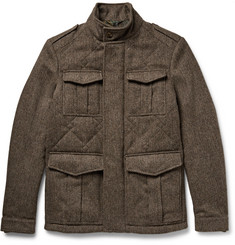 Etro Quilted Herringbone Wool-Tweed Field Jacket
