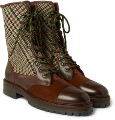 Etro Tweed and Calf Hair-Panelled Leather Boots