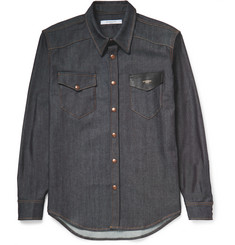 Givenchy Brut Leather-Trimmed Stretch-Denim Shirt