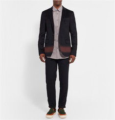 Kolor Midnight-Blue Slim-Fit Printed Wool and Cashmere-Blend Trousers