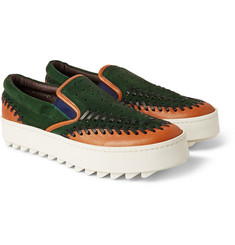 Kolor - Leather-Trimmed Suede Sneakers