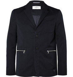 OAMC Navy Slim-Fit Satin-Trimmed Wool-Hopsack Blazer