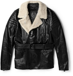 Belstaff Falmouth Shearling-Trimmed Leather Jacket