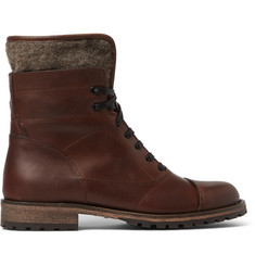 Belstaff Faystar Felt-Trimmed Leather Boots