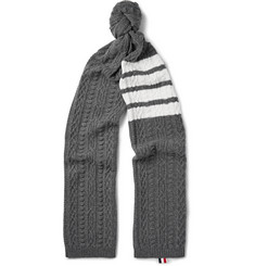 Thom Browne Striped Cable-Knit Cashmere Scarf