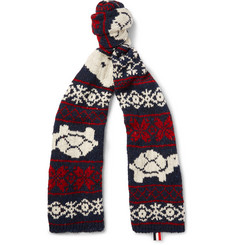 Thom Browne Patterned Wool and Mohair-Blend Scarf