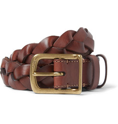 Polo Ralph Lauren 3cm Brown Braided Leather Belt