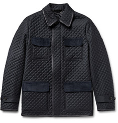 Brioni Leather-Trimmed Quilted Checked Wool Field Jacket