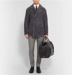 Brioni Double-Breasted Suede-Trimmed Shearling Jacket