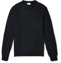 Brioni Slim-Fit Cable-Knit Cashmere and Silk-Blend Sweater
