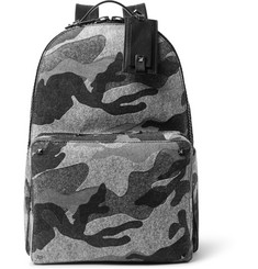 Valentino Leather-Trimmed Camouflage-Print Felt Backpack