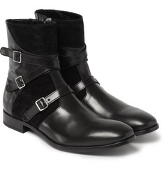 Alexander McQueen - Buckled Leather and Suede Boots