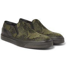 Alexander McQueen - Leather-Trimmed Jacquard Slip-On Sneakers