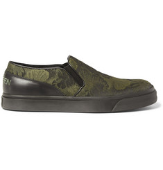 Alexander McQueen Leather-Trimmed Jacquard Slip-On Sneakers