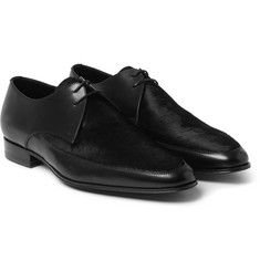 Saint Laurent Calf Hair-Panelled Leather Derby Shoes