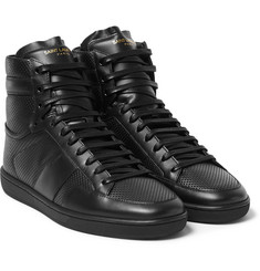 Saint Laurent Perforated Leather High-Top Sneakers