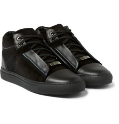 Brioni Suede and Leather High-Top Sneakers