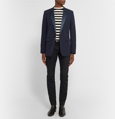 Saint Laurent Navy Wool Tuxedo Jacket