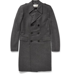 Saint Laurent Slim-Fit Checked Wool-Blend Overcoat