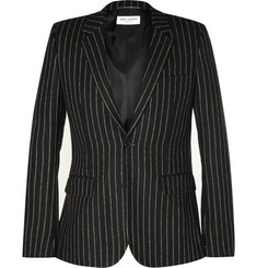 Saint Laurent Black Slim-Fit Chalk-Striped Wool-Blend Blazer