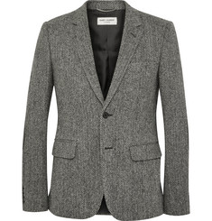 Saint Laurent Grey Slim-Fit Leather Elbow Patch Herringbone Wool-Tweed Blazer