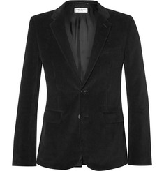 Saint Laurent Black Elbow-Patch Cotton-Corduroy Blazer