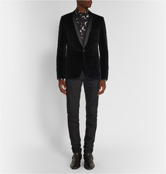 Saint Laurent Black Slim-Fit Velvet Tuxedo Jacket