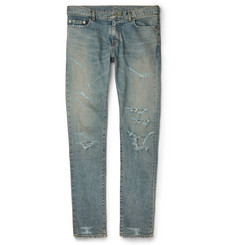 Saint Laurent Slim-Fit Distressed Stretch-Denim Jeans