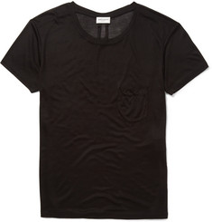 Saint Laurent Chest Pocket Silk-Jersey T-Shirt